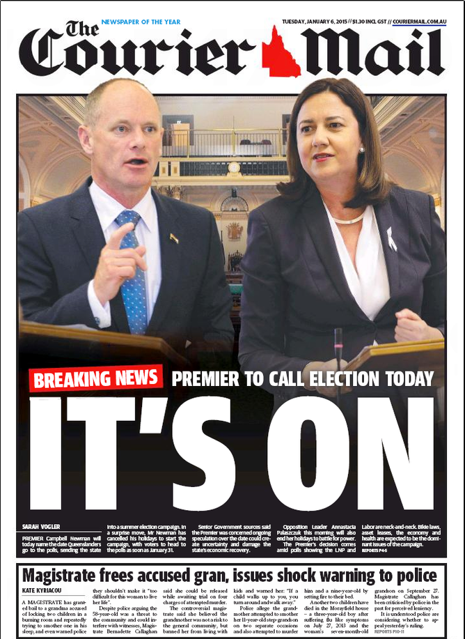 The Front Page Of Tuesday's Couriermail Newspaper The Couriermail