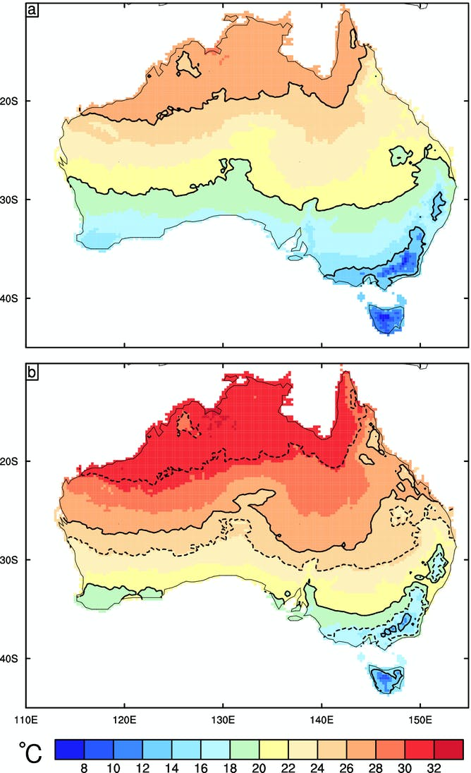 Climate projections show Australia is heading for a much warmer future – Show Map of Australia