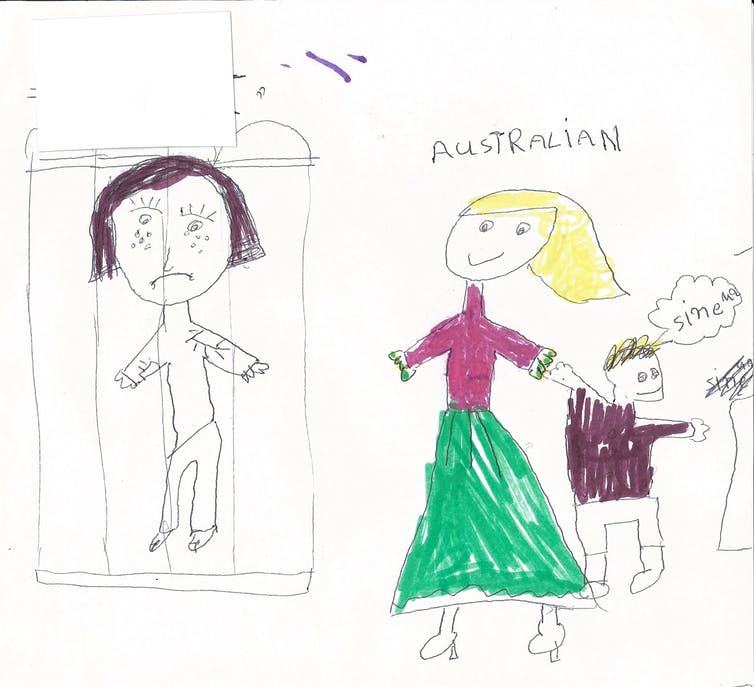 A drawing by child in detention on Nauru shows an asylum seeker behind bars contrasted by smiling Australians.