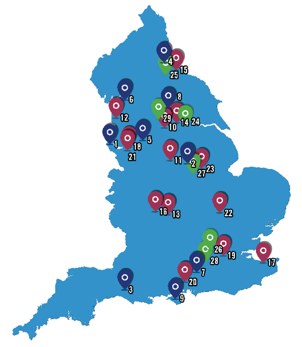 The 29 sites chosen to pilot integrated care in England. NHS England c3905c02b89