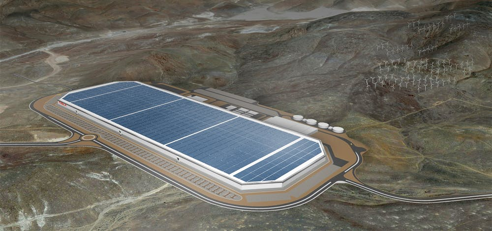An Artist Rendition Of Tesla S Gigafactory Now Under Construction In Nevada Which Will Make Batteries For Electric Cars And Stationary Energy Storage