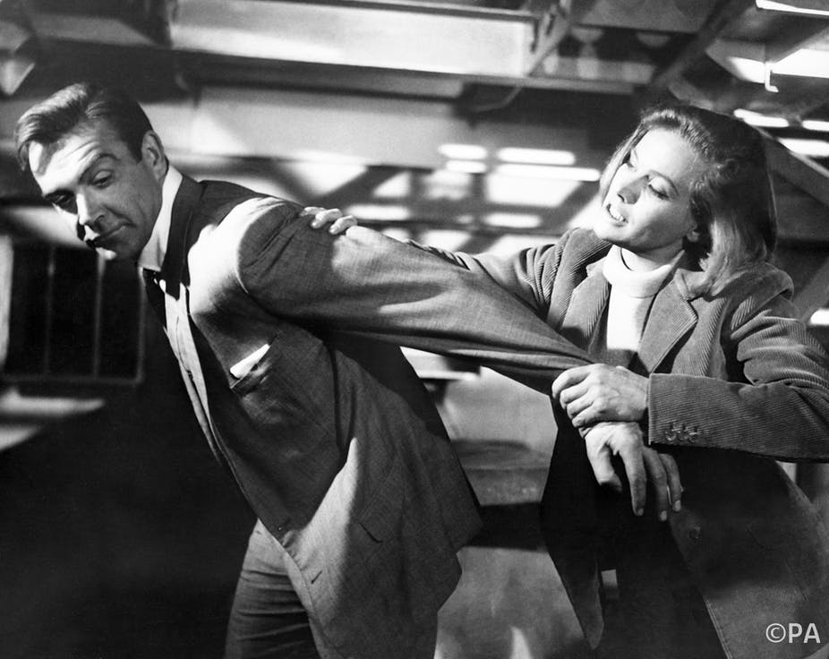 James Bond and Pussy Galore: Sean Connery and Honor Blackman film a scene  for Goldfinger. PA Archive