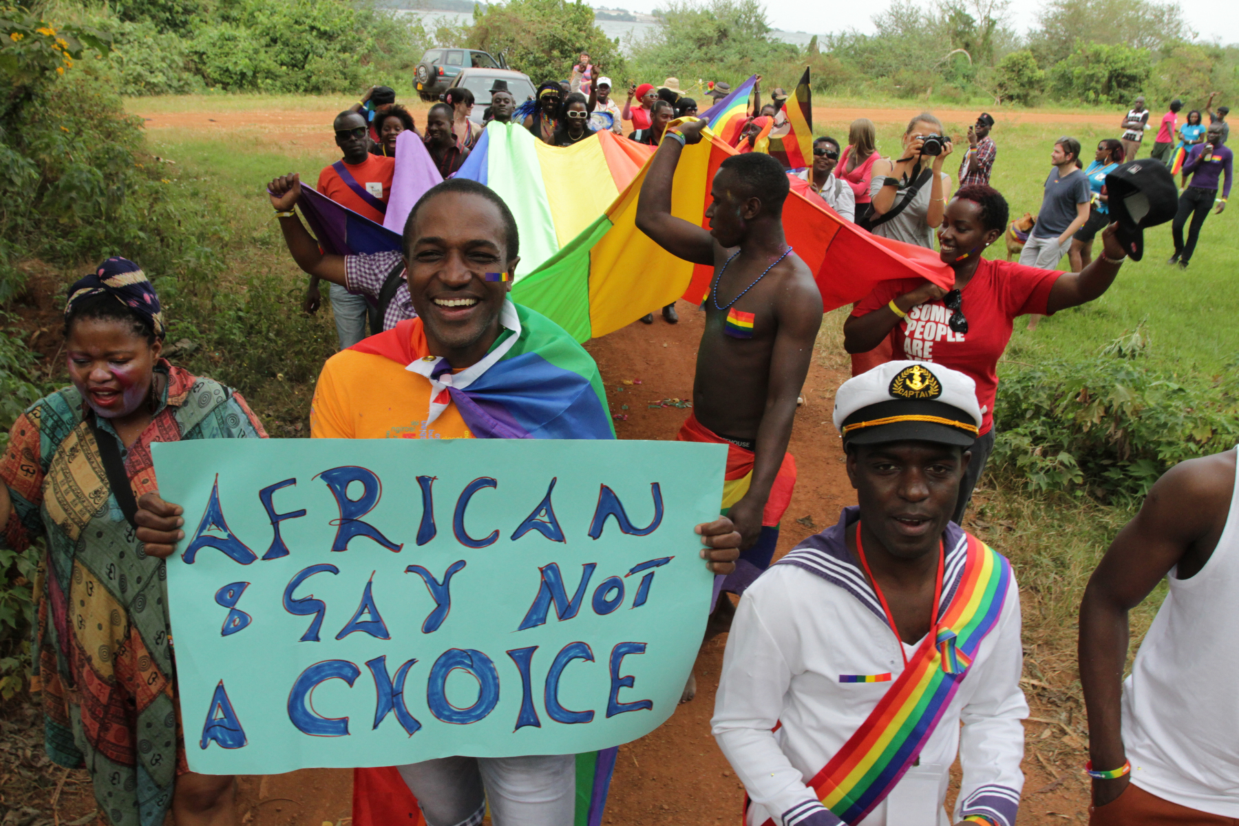 Activists attend Uganda's first gay pride parade at the Entebbe Botanical  Gardens in Kampala, Uganda, in August 2012. Rachel Adams/EPA