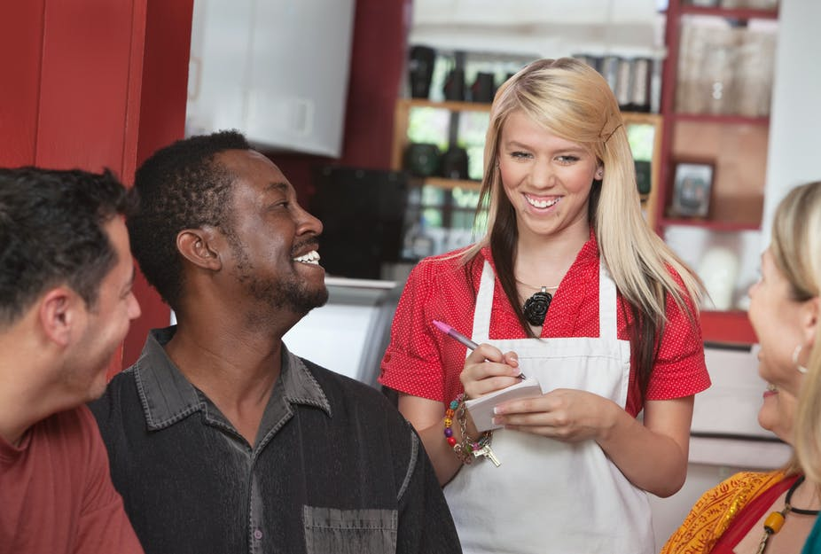 Can we teach restaurant servers to treat all customers equally