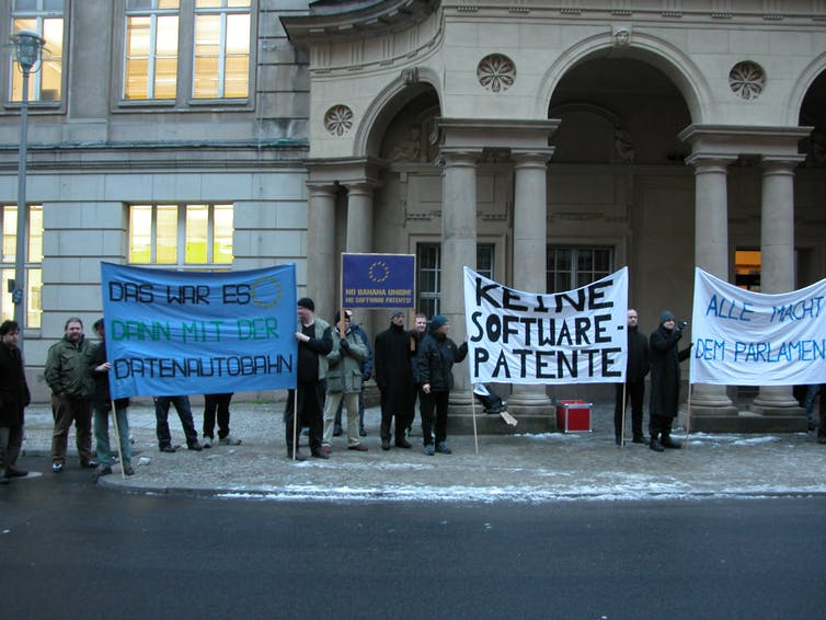protest against EU software patent system