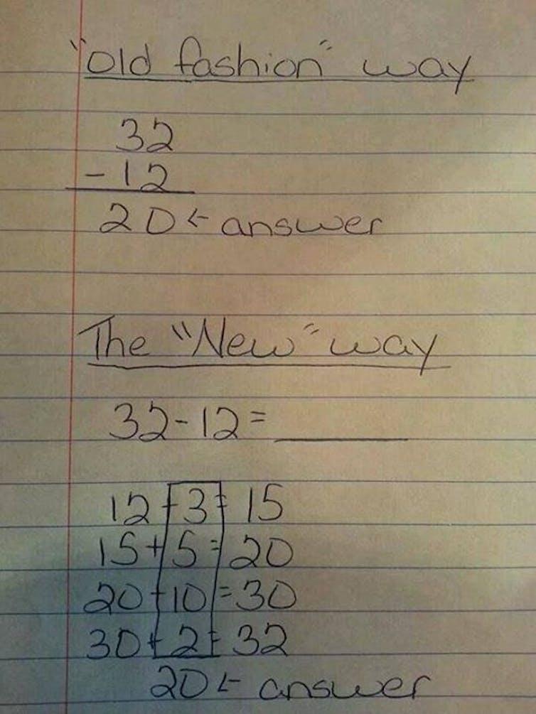 handwritten math problems old vs new math