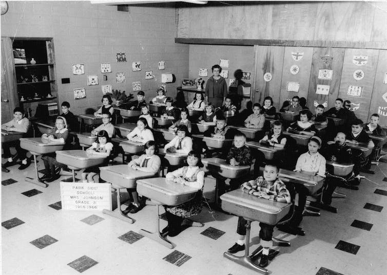 class of students in black and white