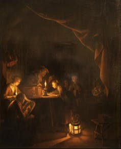 Candlelight doesn't interfere with our circadian rhythm.  By Gerrit Dou, via Wikimedia Commons.